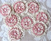 SALE - Pink & White Paper Lace Garland Rosette Buttons Garland Banner Bunting Wedding Baby Shower Photo Prop Shabby Chic Country Cottage