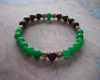 Red Garnet & Green Emerald Bracelet