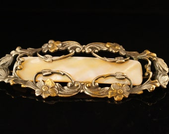 Antique Late Victorian Mother of Pearl Floral Brooch