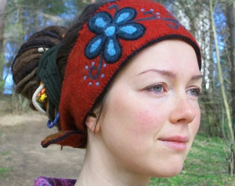 Merino wool head band, hand made felted hair band, Russian style ear warmer