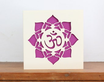 Paper cut Aum and Lotus Greetings Card in Radiant Orchid