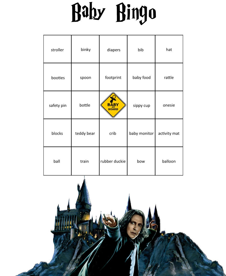 baby shower harry potter themed bingo game