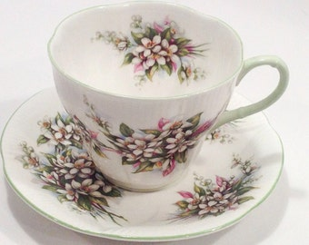 "Vintage Royal Albert bone china tea set from the Blossom Time Series in ""Orange Blossom""."