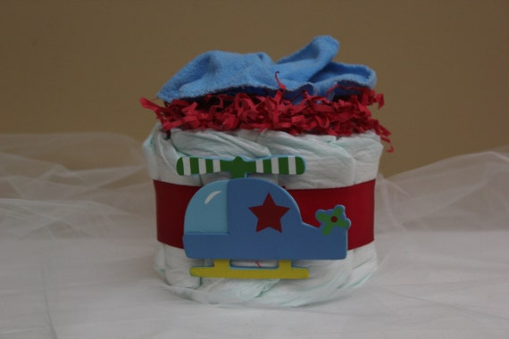 how to make a helicopter diaper cake