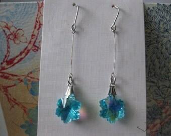 Teal Crystal Bead Earrings