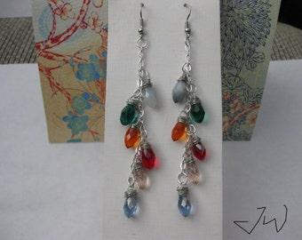 6 Crystal Beads Stainless Steel Earrings