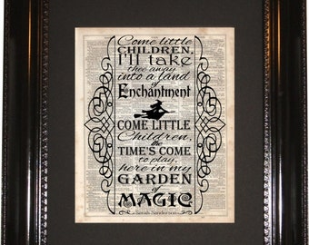 Hocus Pocus Song, Dictionary Art Print, Vintage Dictionary, Silhouette,Disney Halloween, Wall Hanging, Art Print, Halloween Decor, Halloween