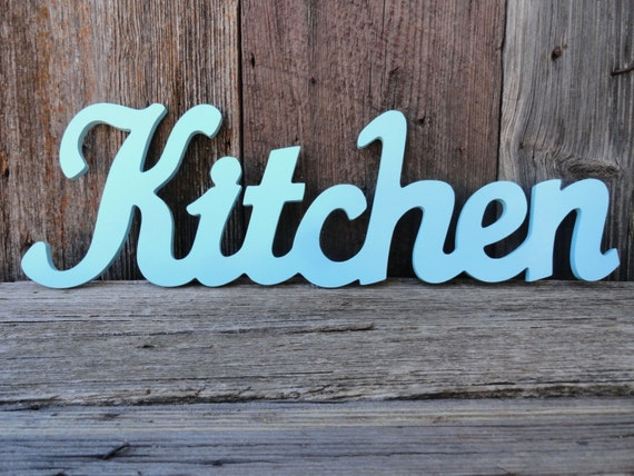 Kitchen wall decor kitchen word wall sign aqua shabby chic for Word wall art