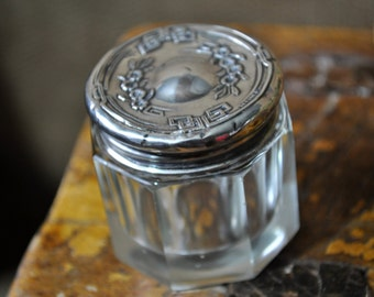 Sterling Powder Jar, Dresser jar, Antique Vintage Crystal Sterling Silver lid, Victorian dresser jar, #1654