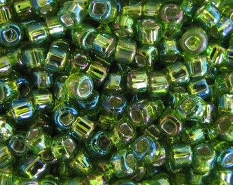 6/ 0  Seed Beads,  Silver Lined Rainbow Lt Green  seed beads,  Green Seed Beads,  10  grams  Seed Beads, #5866 Japanese seed Beads  Item#432