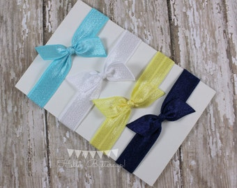 4 No Tug Elastic Hair Ties -Navy and Yellow Hair Tie Set - Blue and White Hair Ties