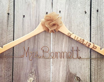 RUSTIC Custom Bridal Hanger with Burlap Flower and Date