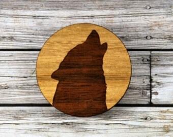Laser cut wood brooch. QLD Walnut Wolf.