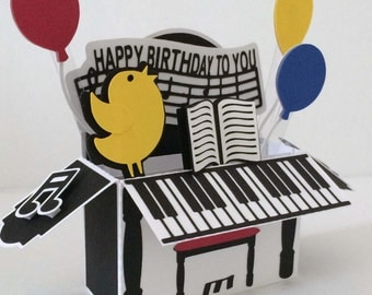 Happy Birthday Piano Card In A Box 3D SVG