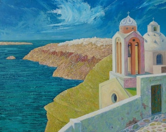 Santorini Dream - Greek Island view - oil on canvas