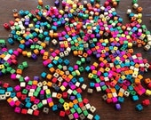 Hmong Colorful Small Square Wood Beads multi Pack Ethnic Boho Crafts Tribal supplies