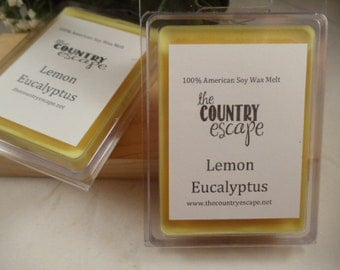 Lemon Eucalyptus Scented 100% Soy Wax Melt - Aromatic and Refreshing Scent- Maximum Scented