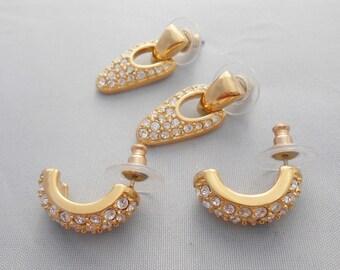 Swarovski Crystal Earrngs Two Pairs Pierced Swan Signature Pre 1988