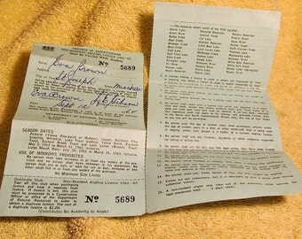 Vintage rent receipts book 75 received receipts unused for Canadian fishing license bc