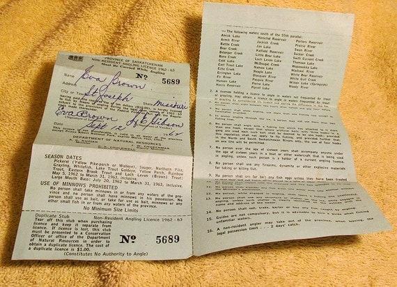 Vintage 1962 saskatchewan canada fishing license canadian big for Canadian fishing license bc