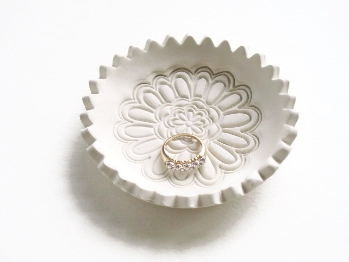 wedding ring holder dish with white flower design unique
