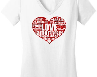 Love In Many Languages  Juniors V Neck T-Shirt DT6501 Sweetheart Valentines Day HS-119