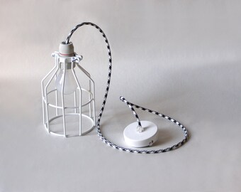 Industrial Lighting, wire Cage, Black & White cloth cord