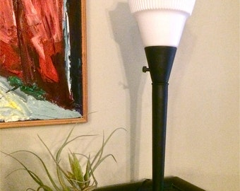 Vintage Desktop Torchiere Lamp Lighting Milk Glass Shade