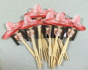Personalized mexican hat sombrero photo cupcake toppers