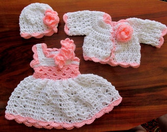 baby girl outfit, crochet baby outfit, white baby cardigan, baby girl cardigan, white baby dresses, crochet baby dresses, baby girl clothes,
