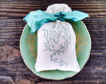 Favor Bag - Thank You Muslin Bag Rustic Country Wedding Birthday Party Gift Bag Stamped
