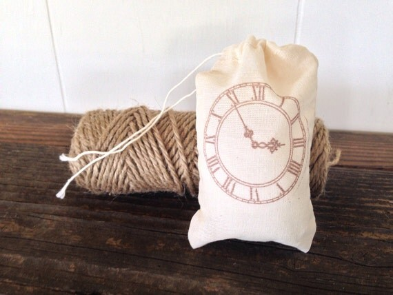 Clock Wedding Gift: Vintage Clock Favor Bag Muslin Party Favor Rustic Theme