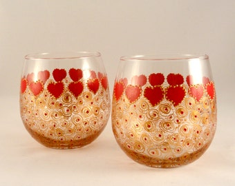 Valentine's Day Wine Glasses -- Hand Painted Stemless Wine Glasses  Set of 2