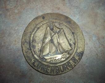 Brass Metal Ware Paper Weight Blue Nose Schooner Sailing Ship