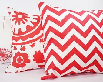 Three Coral Pillow Covers - Three Coordinating Coral Throw Pillows Coral and White - Throw Pillow Couch Pillow Accent Pillow