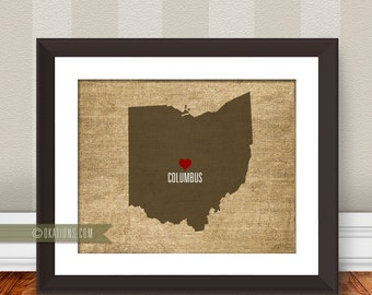 Columbus Ohio State Map Love Wall Art   Burlap   I Love City State Instant  Download Part 60