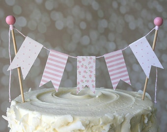 Pink Stripe/Flower/Polka Dot Baby Shower Cake Bunting Pennant Flag Cake Topper-MANY Colors to Choose From!  Birthday, Shower Cake Topper