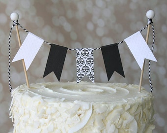 Black and White Damask Birthday Cake Bunting Pennant Flag Cake Topper-MANY Colors to Choose From!  Birthday, Shower Cake Topper