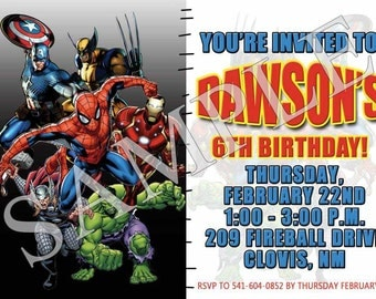 Avengers Super Hero Birthday Invite