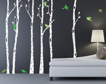Birch Tree Wall Decals REUSABLE WALL DECAL Set of Six