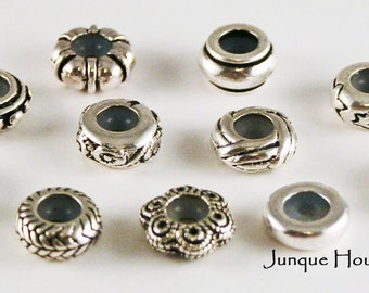 SUMMER SALE! Set of 11 Antiqued Pewter European Stopper Beads Variety Mix, With 5 Piece Bonus