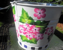 Decorative 3 gallon Garden Pail Hand Painted with Floral Design on Galvanized Metal Can