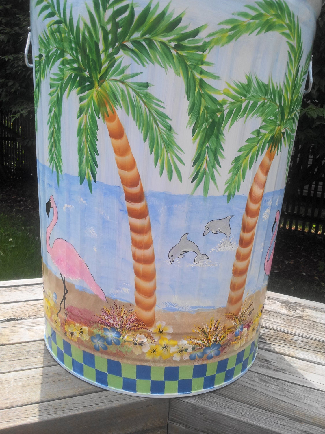 30 Gallon Decorative Hand Painted Galvanized Metal Trash Can