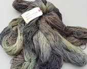 Worsted weight superwash 100% wool hand dyed at Fleece Artist mossy grey green eggplant