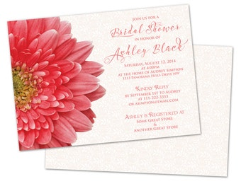 Gerbera Daisy Coral White Peach Lace Bridal Shower Invitations Printed