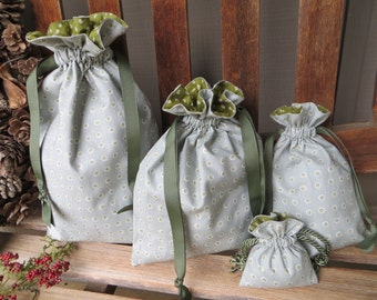 Set of Lined Fabric Drawstring Bags