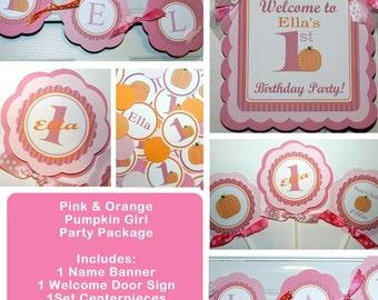 Pumpkin Birthday-Pumpkin Birthday Party  Package- Pink Pumpkin Birthday