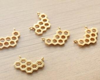 1 pcs of HoneyComb Geometric 18k Gold Plated Zinc Alloy Pendants - 30 mm