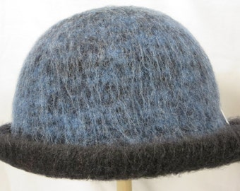 Hat Wool Felted Black and Blue with Rolled Brim