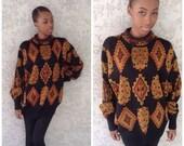 VTG Black Tribal aztec Native American Oversized Sweater